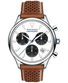 Men's Swiss Chronograph Heritage Series Calendoplan Cognac Leather Strap Watch 43mm 3650008