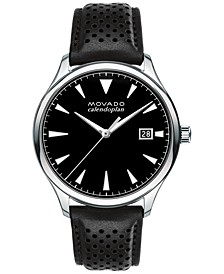 Men's Swiss Heritage Series Calendoplan Black Leather Strap Watch 40mm 3650004