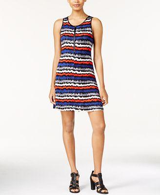 kensie Striped Zip-Up Fit & Flare Tank Dress