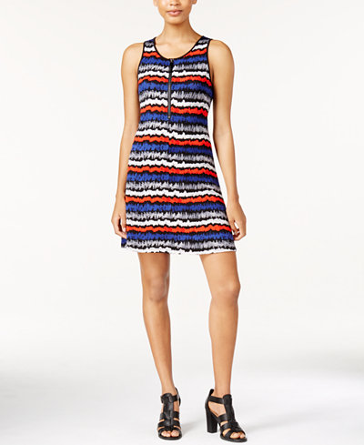 kensie Striped Zip-Up Fit & Flare Tank Dress