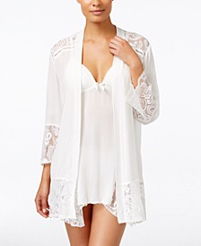 Flower Child Sheer Lace-Trim Kimono Robe
