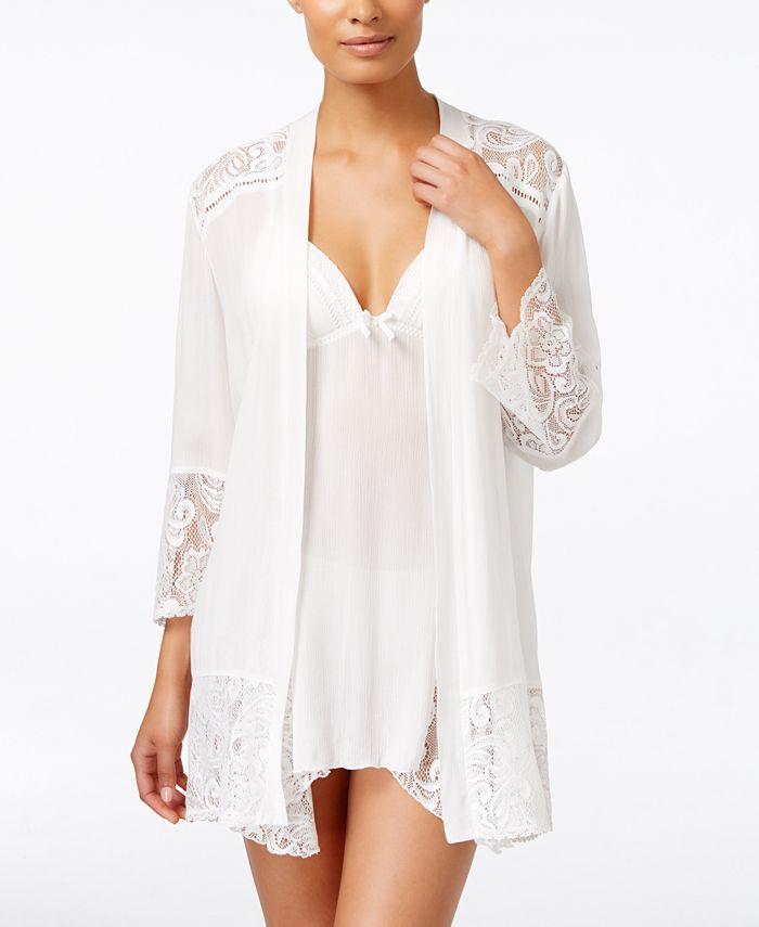 Linea Donatella - Flower Child Sheer Lace-Trim Kimono Robe