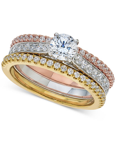 Diamond 3-Pc. Bridal Set (1-1/3 ct. t.w.) in 14k White, Rose and Yellow Gold