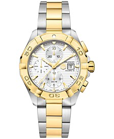 Men's Swiss Automatic Chronograph Aquaracer Silver-Tone and 18k Gold-Plated Stainless Steel Bracelet Watch 43mm
