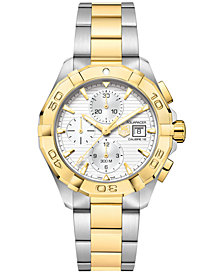 TAG Heuer Men's Swiss Automatic Chronograph Aquaracer Silver-Tone and 18k Gold-Plated Stainless Steel Bracelet Watch 43mm CAY2121.BB0923