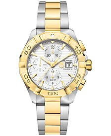 TAG Heuer Men's Swiss Automatic Chronograph Aquaracer Silver-Tone and 18k Gold-Plated Stainless Steel Bracelet Watch 43mm