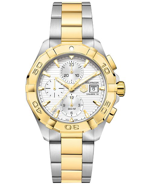 0a74274a6570f ... TAG Heuer Men's Swiss Automatic Chronograph Aquaracer Silver-Tone and  18k Gold-Plated Stainless ...