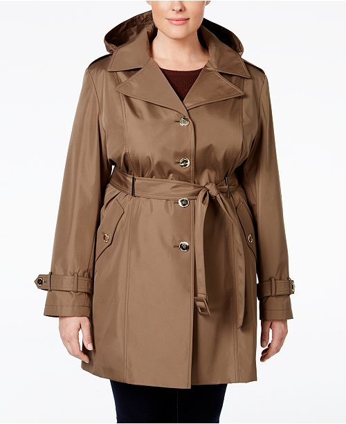 on feet shots of find workmanship fashion Calvin Klein Plus Size Hooded Single-Breasted Trench Coat ...