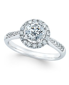 Diamond Halo Engagement Ring (7/8 ct. t.w.) in 14k White Gold