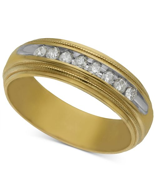 Macy's Men's Diamond Wedding Band (1/5 ct. t.w.) in 14k Gold