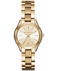 Michael Kors Women's Mini Slim Runway Gold-Tone Stainless Steel Bracelet Watch 33mm MK3512