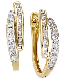Diamond Hoop Earrings (1 ct. t.w.) in 10k Yellow or White Gold