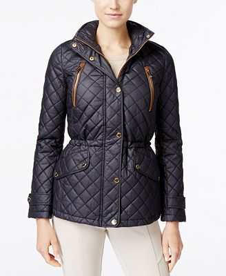 MICHAEL Michael Kors Hooded Faux-Leather-Trim Quilted Anorak ... : quilted anorak - Adamdwight.com