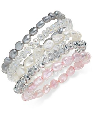 5-Pc. Set Multicolor Cultured Freshwater Pearl Baroque (7-8mm) and Crystal Rondel Stretch Bracelets