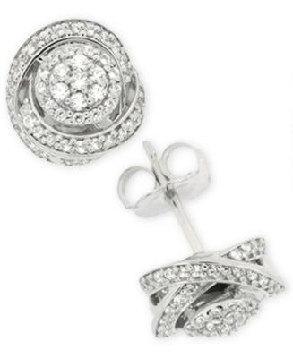 Macy S Diamond Fancy Stud Earrings 1 2 Ct T W In Sterling Silver Jewelry Watches