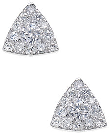 Diamond Pavé Triangle Stud Earrings (1/2 ct. t.w.) in 14k White Gold
