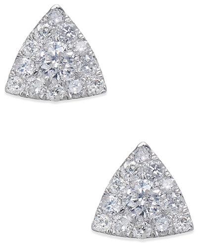 Diamond Pavé Triangle Stud Earrings (1/2 ct. t.w.) in 14k White Gold