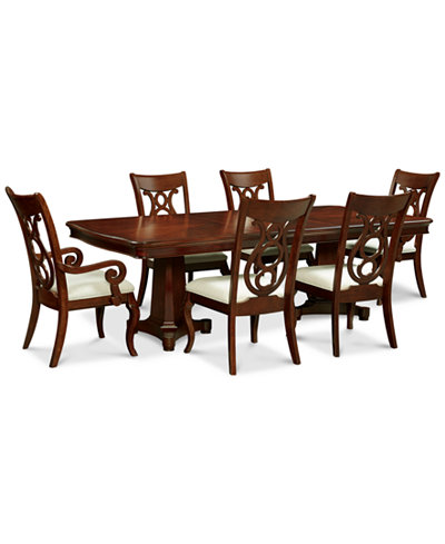 Bordeaux Double Pedestal 7-Pc. Dining Set (Dining Table, 4 Side Chairs & 2 Arm Chairs)