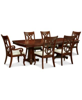 Bordeaux Double Pedestal 7 Pc. Dining Set (Dining Table, 4 Side Chairs