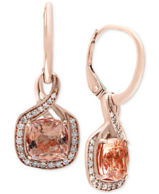 Blush by EFFY® Morganite (2-3/8 ct. t.w.) and Diamond (1/5 ct. t.w.) Drop Earrings in 14k Rose Gold