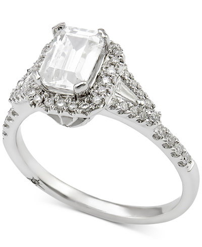 marchesa certified diamond engagement ring 1 ct tw in 18k white gold - Macys Wedding Rings