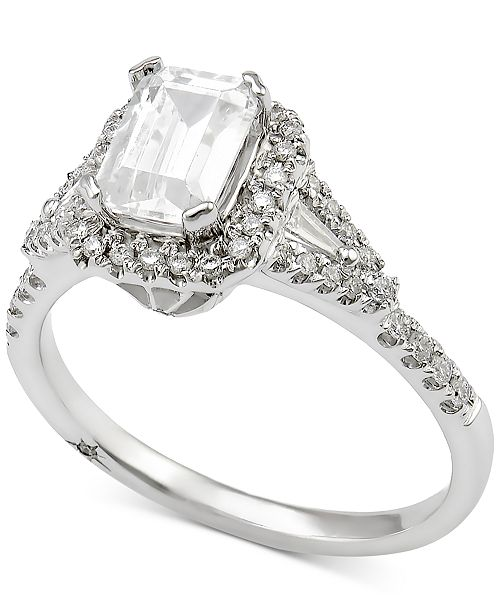 Marchesa Certified Diamond Engagement Ring (1 ct. t.w.) in 18k White Gold, Created for Macy's