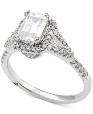 marchesa certified diamond engagement ring 1 ct tw in 18k white gold