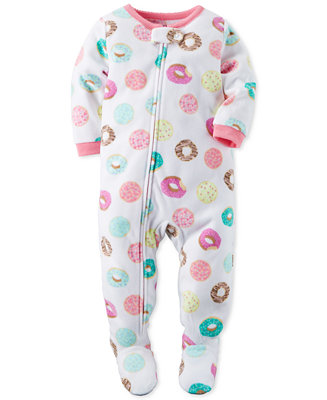 Carter S Baby Girls 1 Pc Donut Print Footed Pajamas