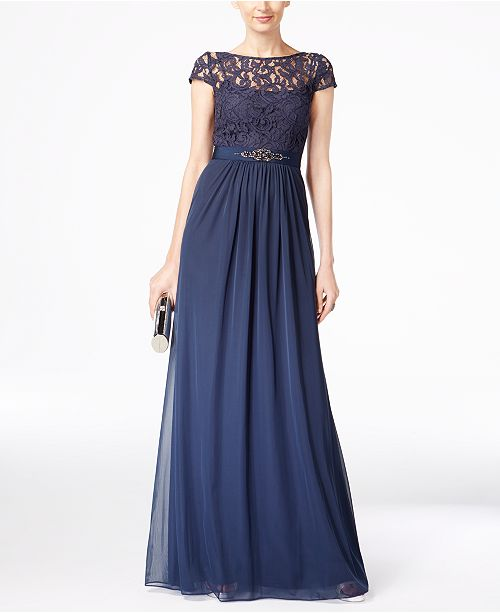 4b01f9e165f Adrianna Papell Lace Illusion Gown   Reviews - Dresses - Women - Macy s