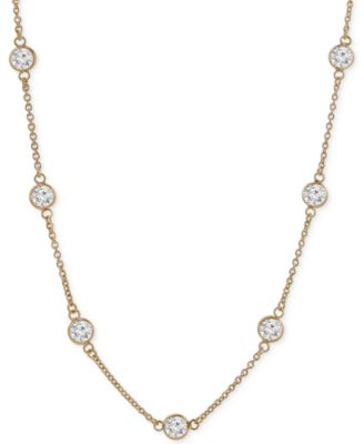 Image of Giani Bernini Cubic Zirconia Bezel-Set Statement Necklace in 18k Gold-Plated Sterling Silver and Ste