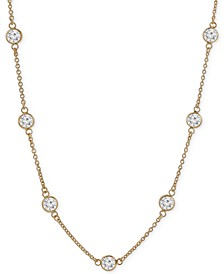 "Cubic Zirconia Bezel-Set Necklace in 18k Gold-Plated Sterling Silver & Sterling Silver, 16"" + 2"" Extender, Created for Macy's"