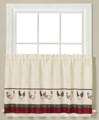 "French Country Rooster-Print Pair of 29"" x 24"" Tier Curtains"