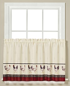 "French Country Rooster-Print Pair of 29"" x 36"" Tier Curtains"