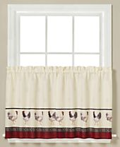 """Saturday Knight French Country Rooster-Print Pair of 29"""" x 36"""" Tier Curtains"""