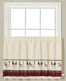 "Saturday Knight French Country Rooster-Print Pair of 29"" x 24"" Tier Curtains"