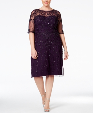 1920s Plus Size Dresses Adrianna Papell Plus Size Short-Sleeve Beaded Dress $279.99 AT vintagedancer.com