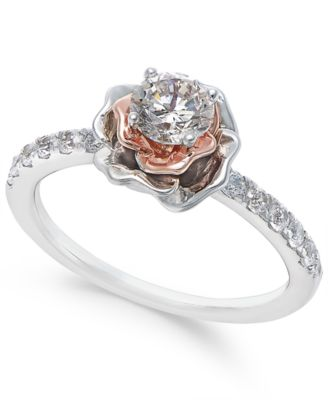 Diamond Bouquet Engagement Ring 34 ct tw in 14k White and Rose