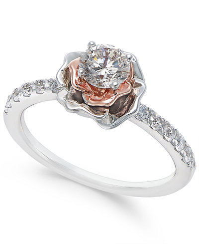 Diamond Bouquet Engagement Ring 3 4 Ct T W In 14k