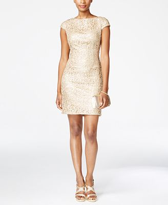 Adrianna Papell Petite Sequined Lace Sheath Dress - Dresses ...