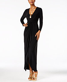 Thalia Sodi Long-Sleeve High-Low Maxi Dress