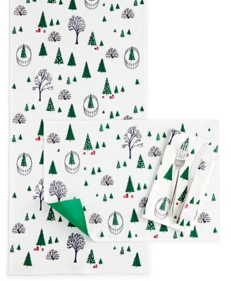 Kate Spade New York Holiday Village Table Linens Collection - Kate spade table linens