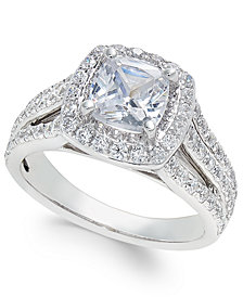 Certified Diamond Cushion Cut Engagement Ring (2-1/2 ct. t.w.) in 18k White Gold