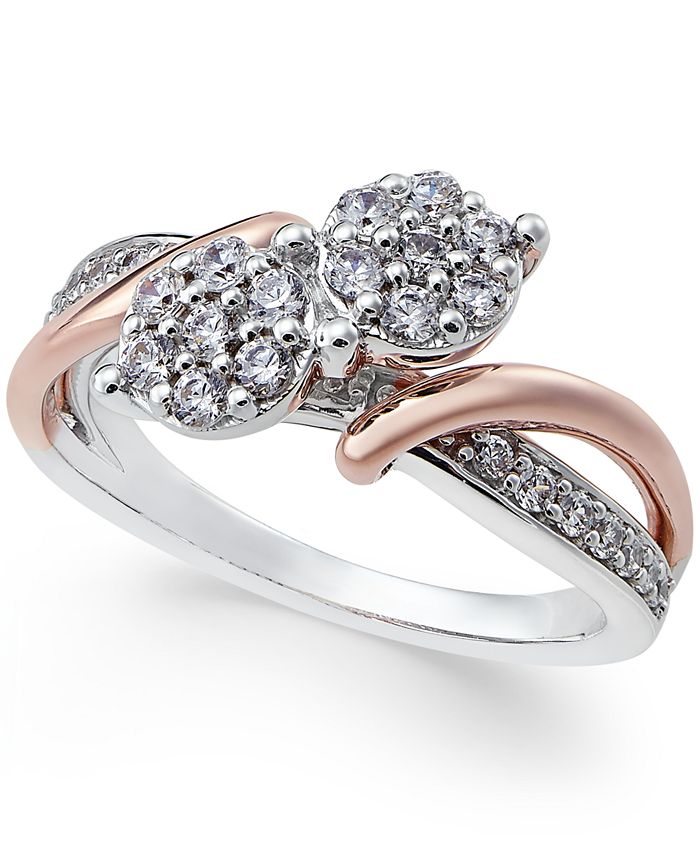 Two Souls, One Love® - Diamond Anniversary Ring (1/2 ct. t.w.) in 14k White and Rose Gold