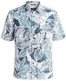 Quiksilver Men's Leaf-Print Short-Sleeve Hawaiian Shirt