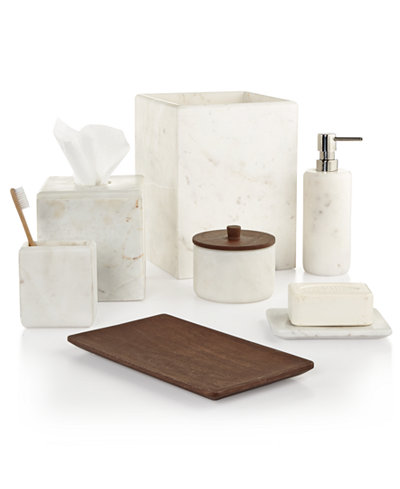 Closeout hotel collection marble bath accessories for Marble toilet accessories