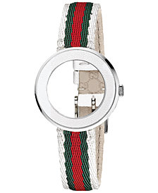 Gucci Women's Swiss U-Play White Bezel and Green, Red and White Nylon Strap 27mm YFA50040