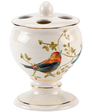 Image of Avanti Bath Accessories, Gilded Birds Toothbrush Holder Bedding