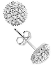 Diamond Pavé Stud Earrings (1/4 ct. t.w.) in Sterling Silver