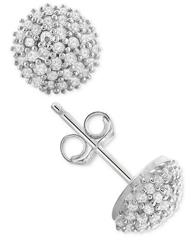 Diamond Pavé Stud Earrings (1/4 ct. t.w.) in Sterling Silver