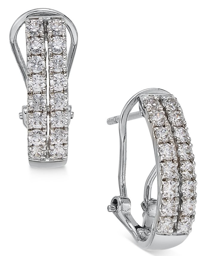 Macy's - Diamond Two-Row Hoop Earrings (1 ct. t.w.) in 14k White Gold